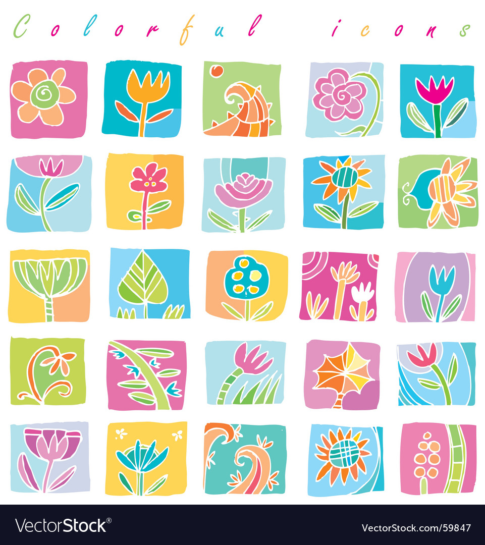 Colorful floral icons vector image