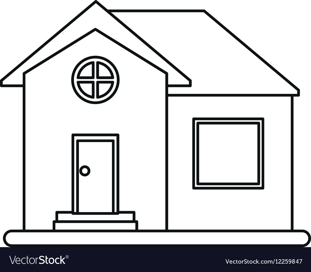 House home property round window outline vector image