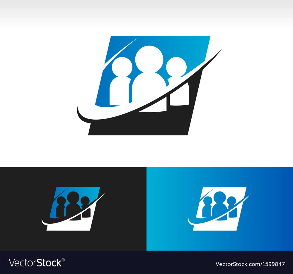 Swoosh Group People Logo Icon vector image