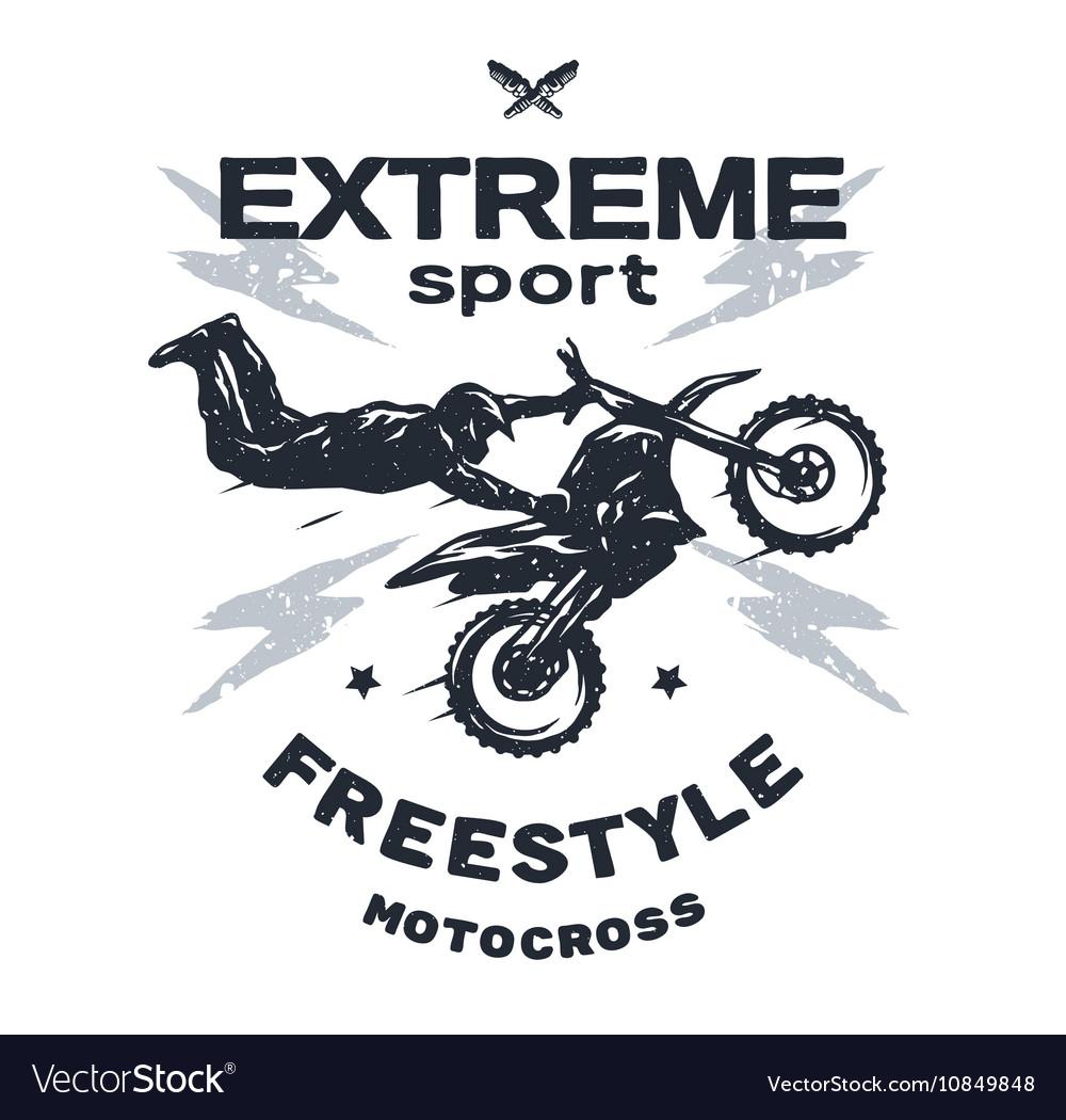 Design t shirt motocross - Extreme Motocross Emblem T Shirt Design Vector Image