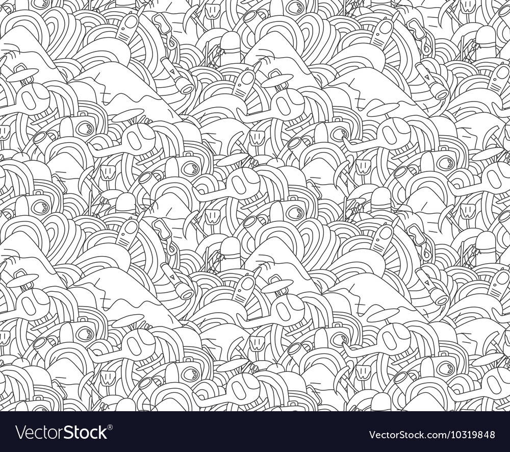 Abstract doodle seamless pattern with objects for vector image