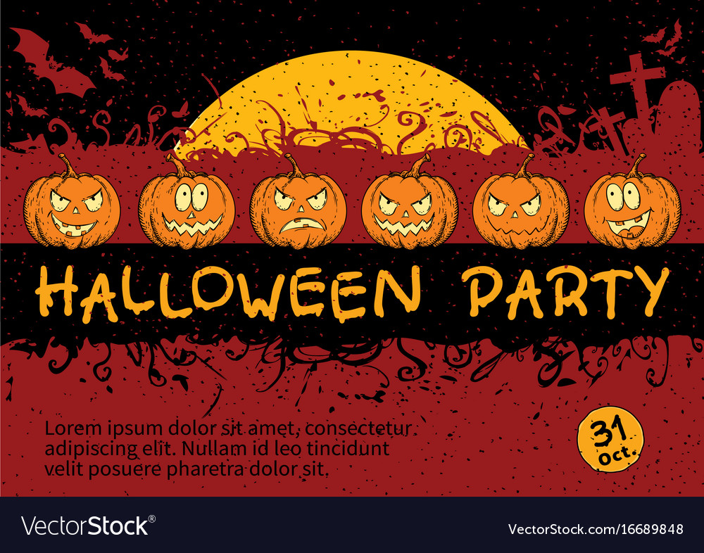 Fine halloween party invitation card illustration invitations and halloween invitation card design royalty free vector image stopboris Image collections