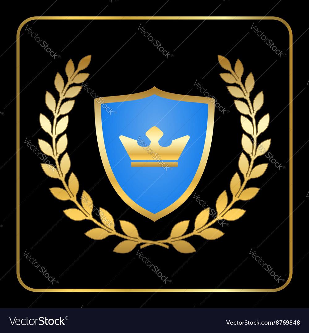 Shield gold laurel wreath icon crown black vector image