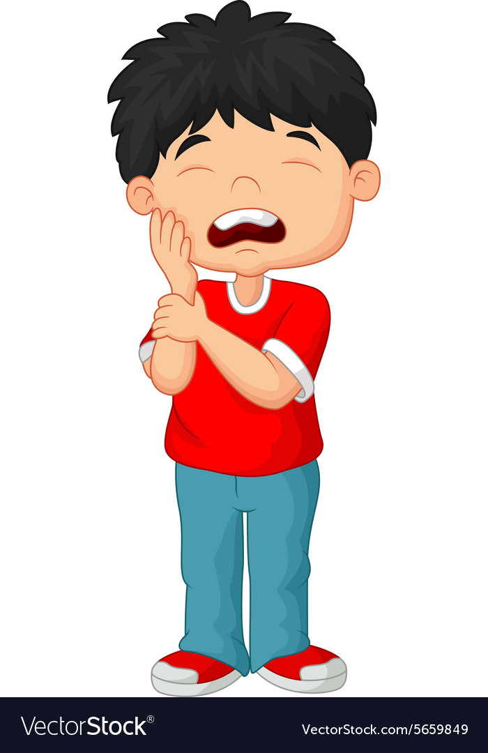 Cartoon little boy toothache vector image