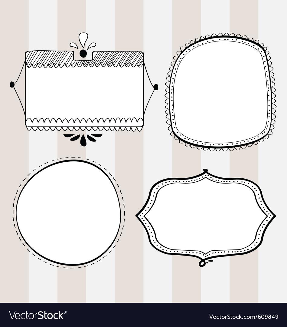 Decorative hand-drawn frames vector image