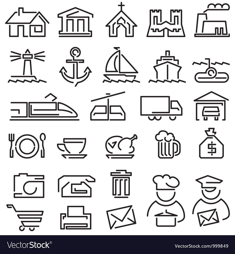 Set line icons vector image