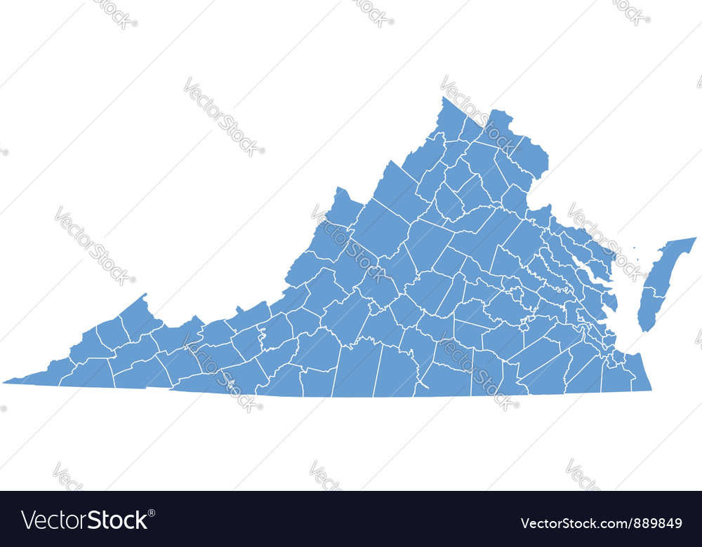 State Map Of Virginia By Counties Royalty Free Vector Image - State map of va