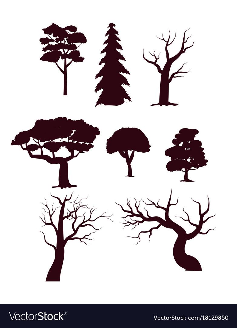 Deciduous forest trees silhouette set vector image