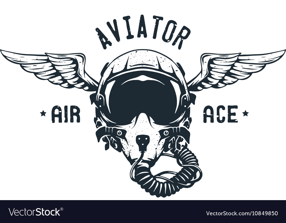 Fighter Pilot Helmet Emblem vector image