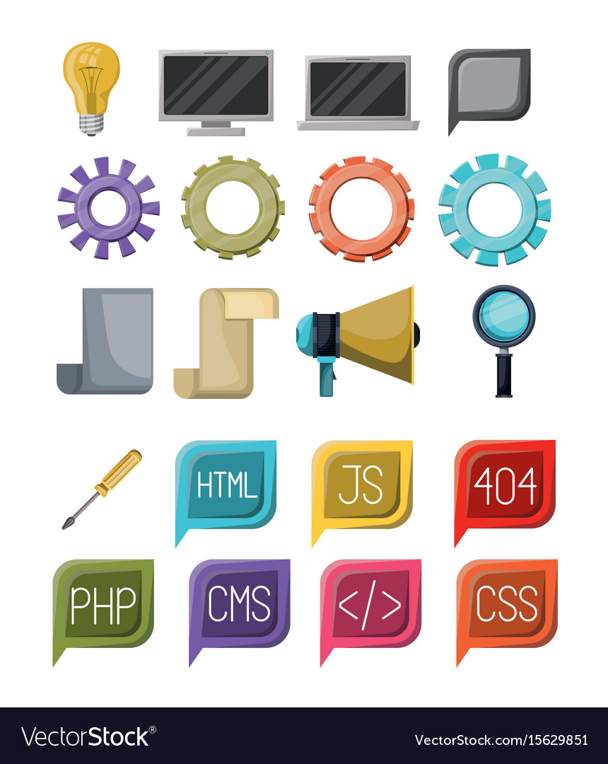 Colorful set of icons elements of web programming vector image