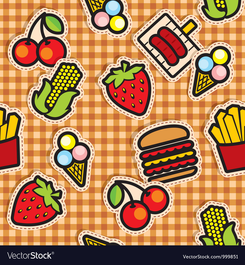 Food icons seamless background vector image