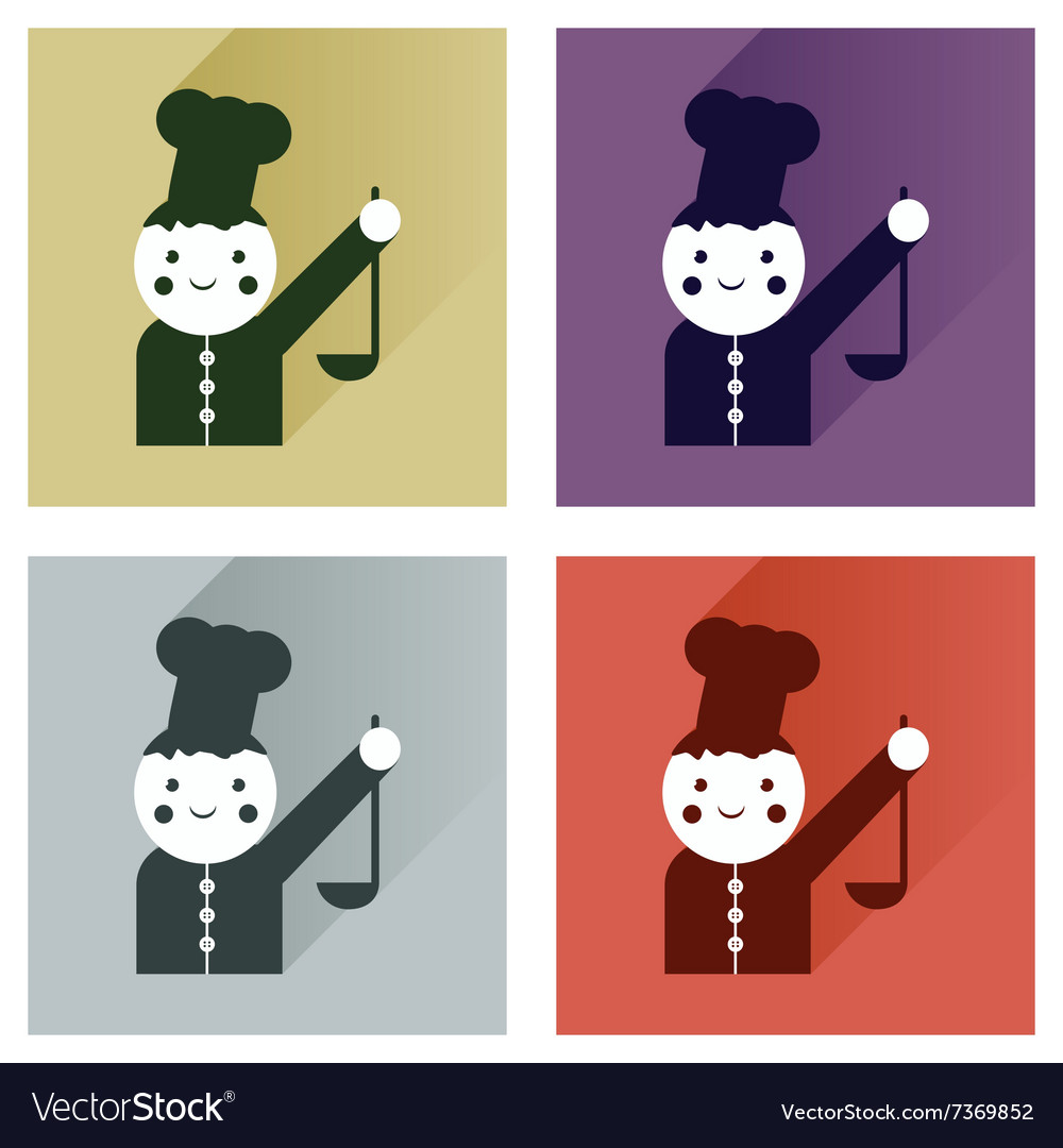 Set flat icons with long shadow cook with