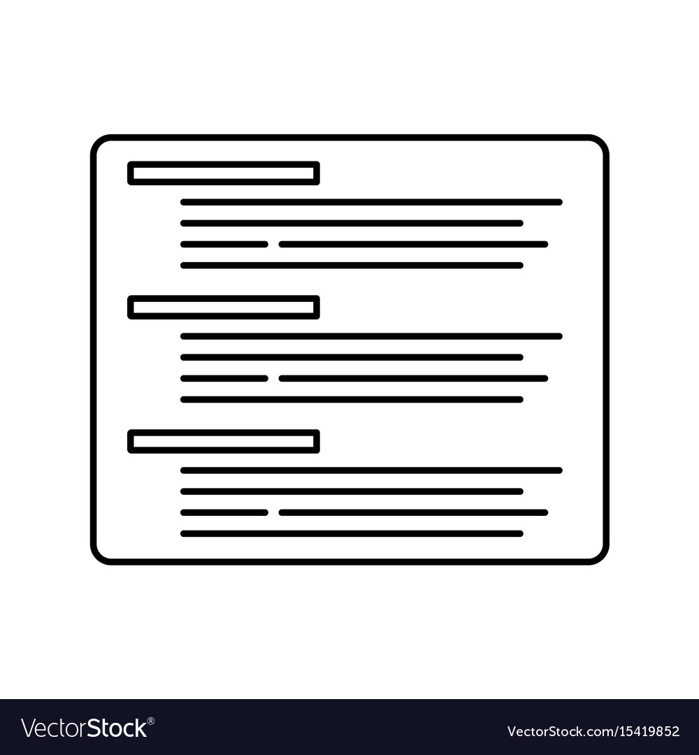 Coding or text abstract outline icon thin line vector image