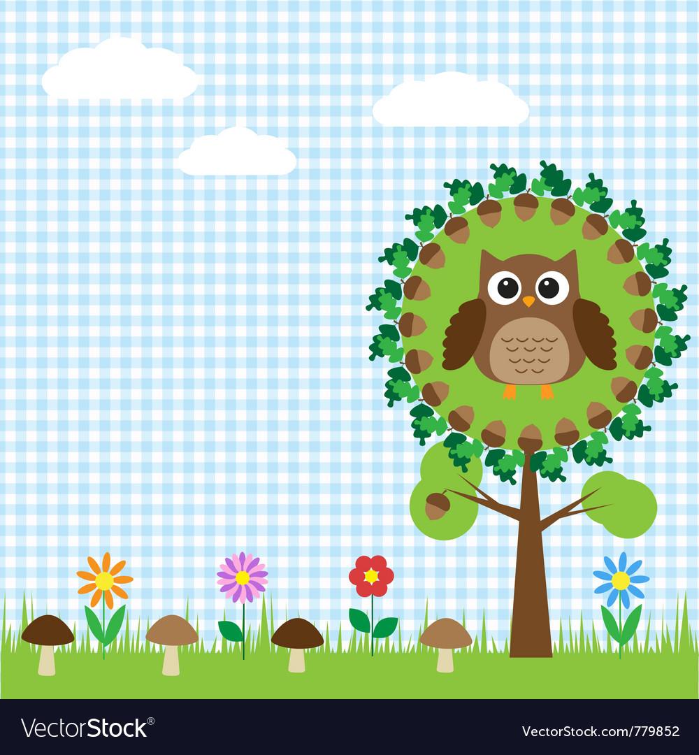 Cute owl sitting on oak vector image