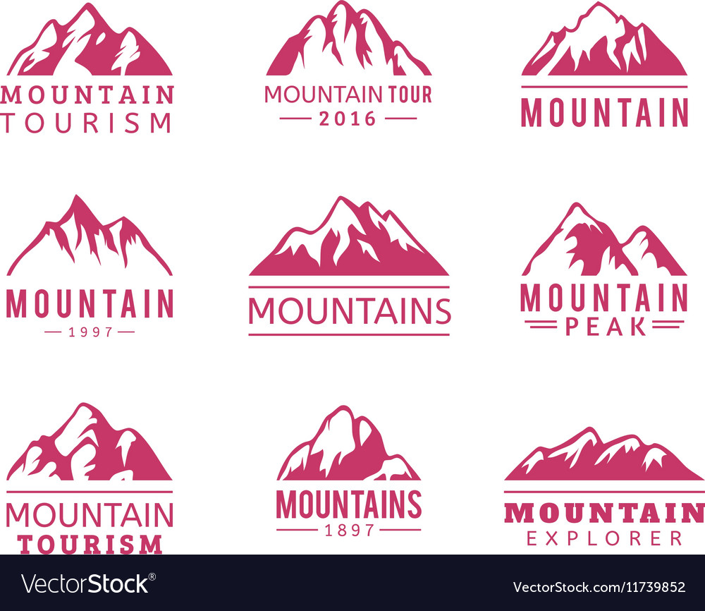 Mountain icons set vector image