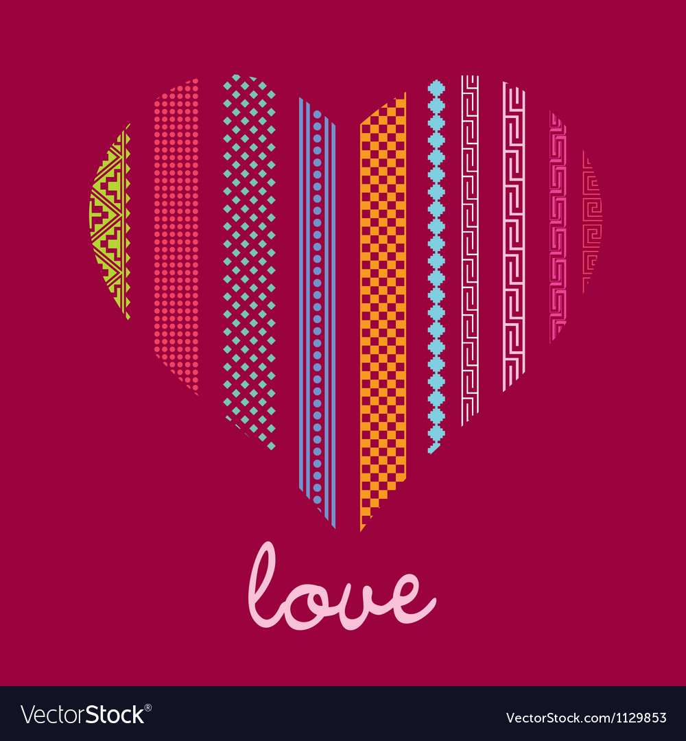 Color ornamental heart post card vector image