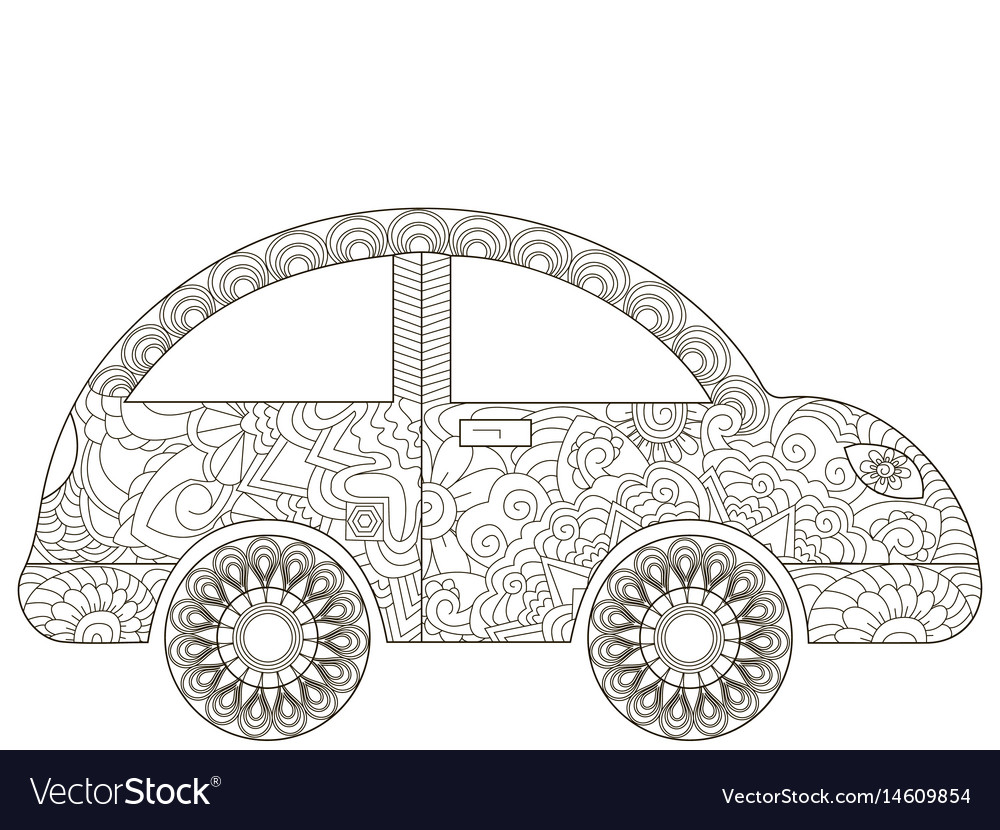 Baby Toy Car Coloring Book For Adults Vector Image