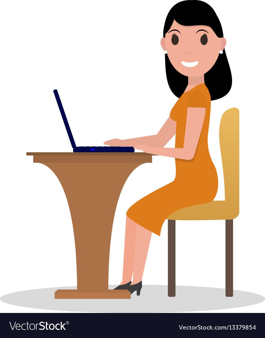 Cartoon woman working at his laptop vector image