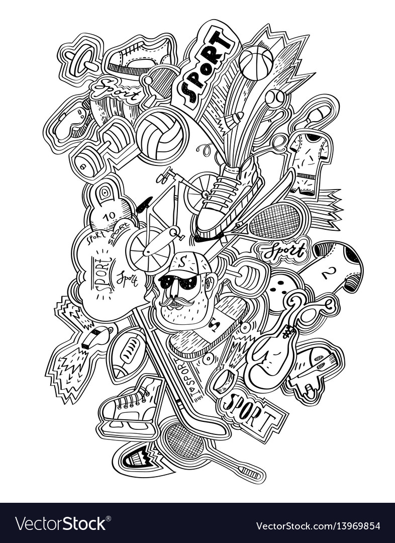 Hand drawn doodles sport concept sports equipment vector image