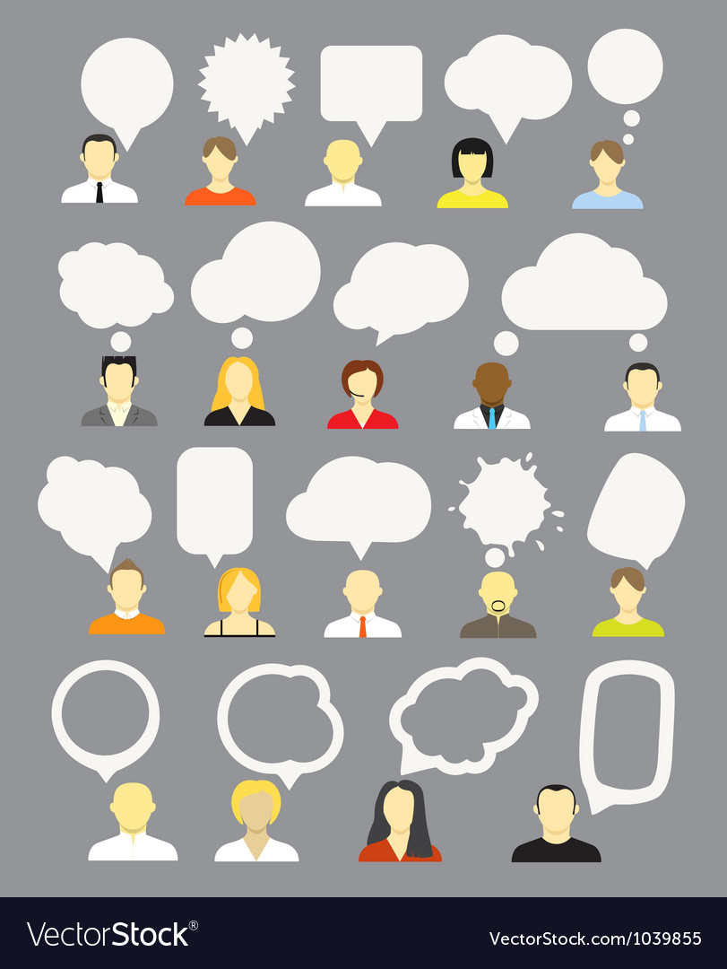 Different people with speech bubbles collection vector image