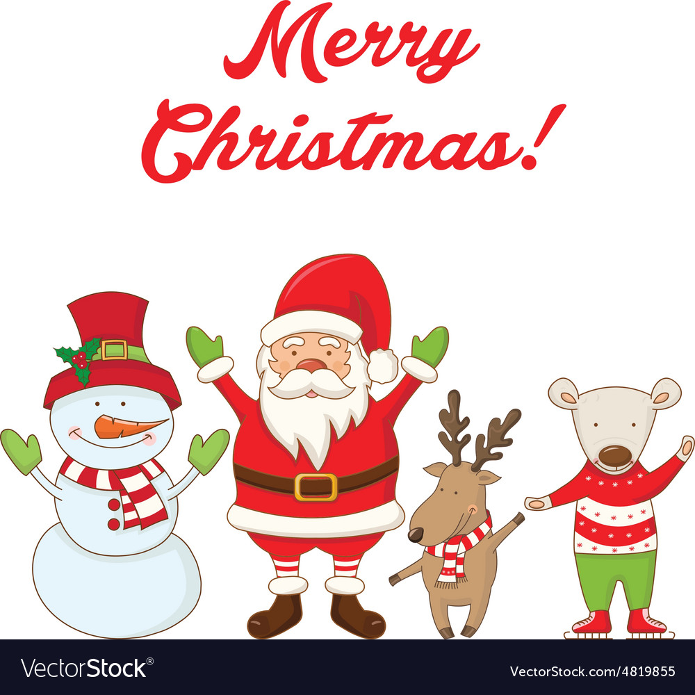 christmas characters and the words merry christmas