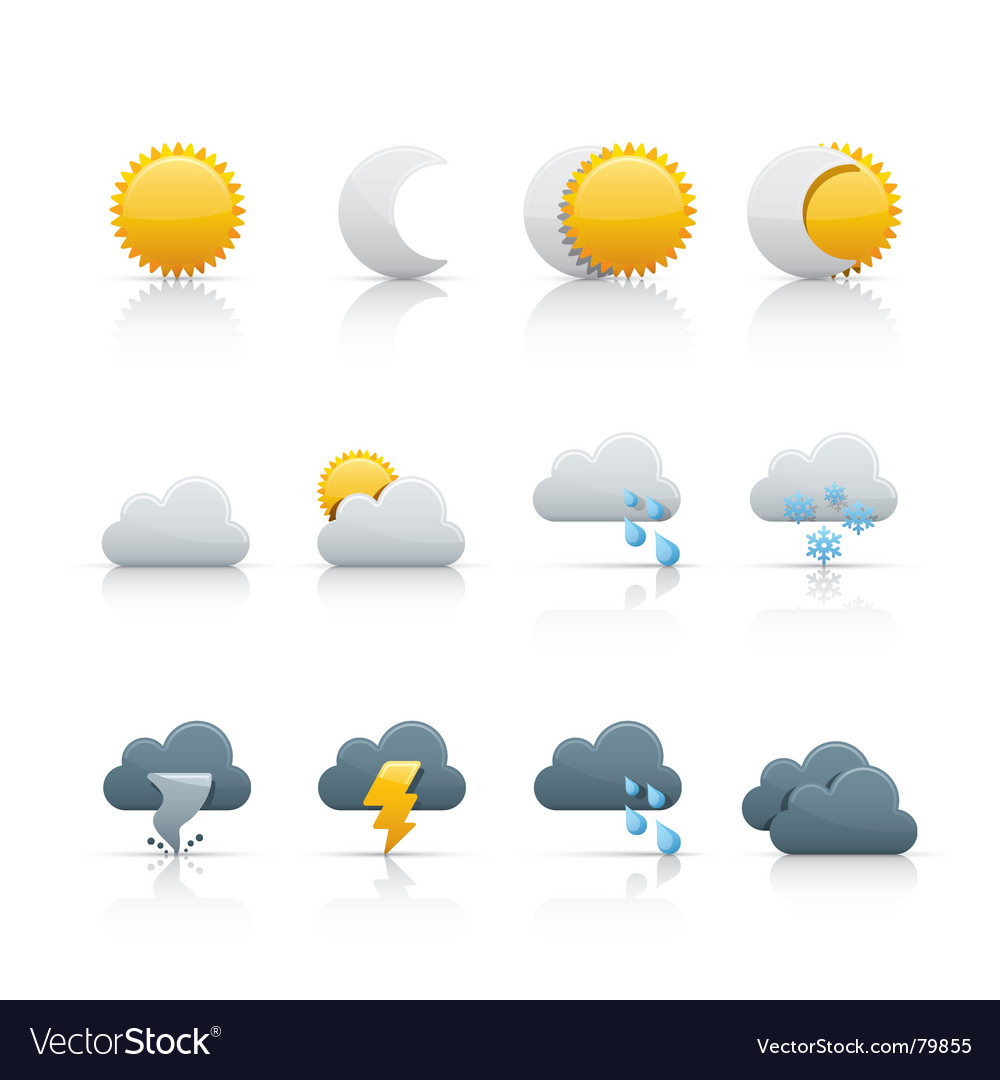 Icon set weather and climate vector image