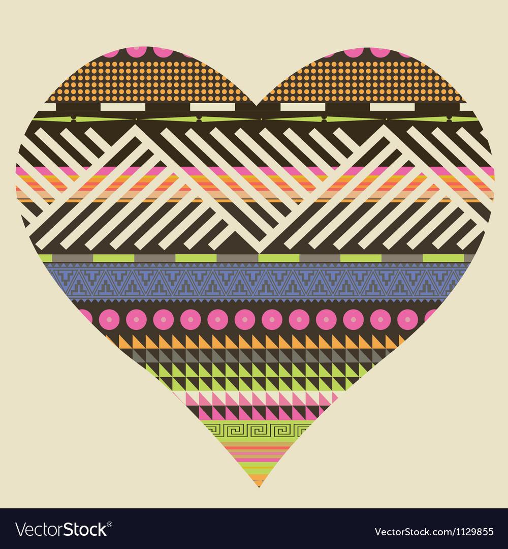 Ornamental heart valentine poster vector image