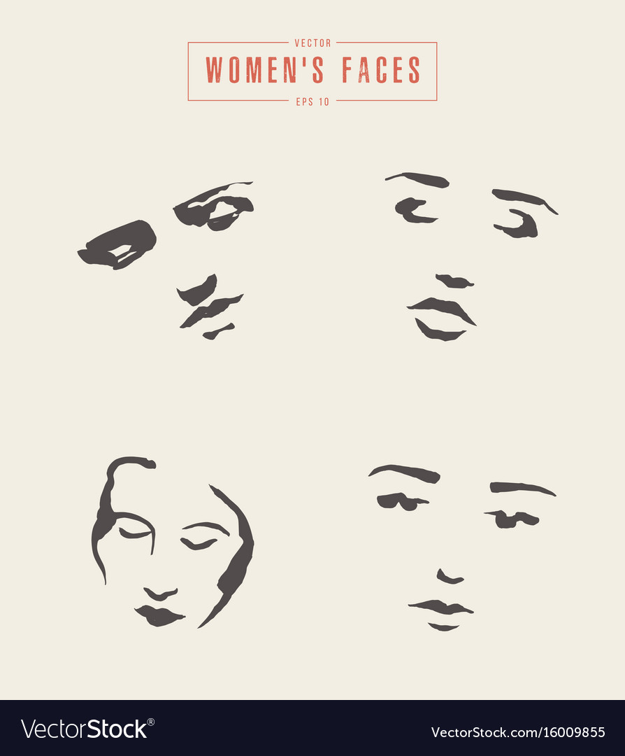 Women s faces contours paintbrush sketch vector image