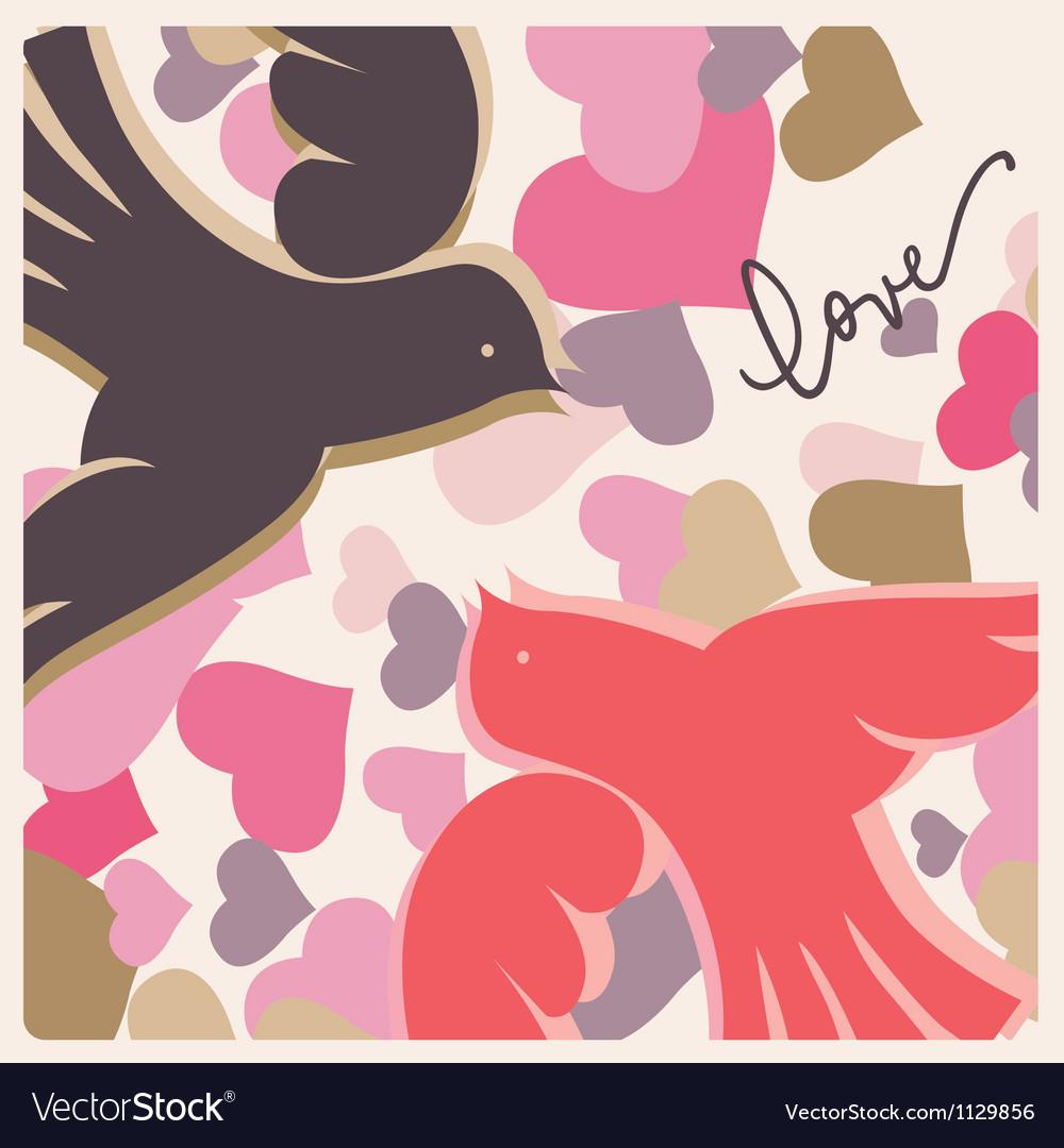 Kissing pigeons valentine poster vector image