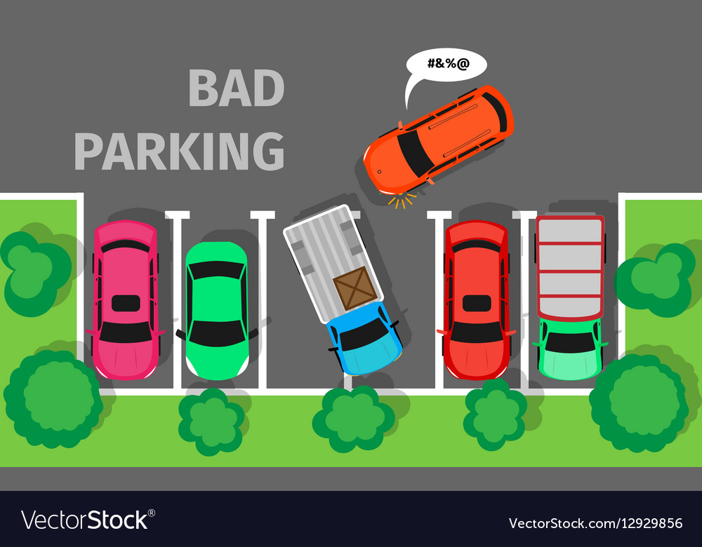 Bad Parking Car Parked in Inappropriate Way vector image