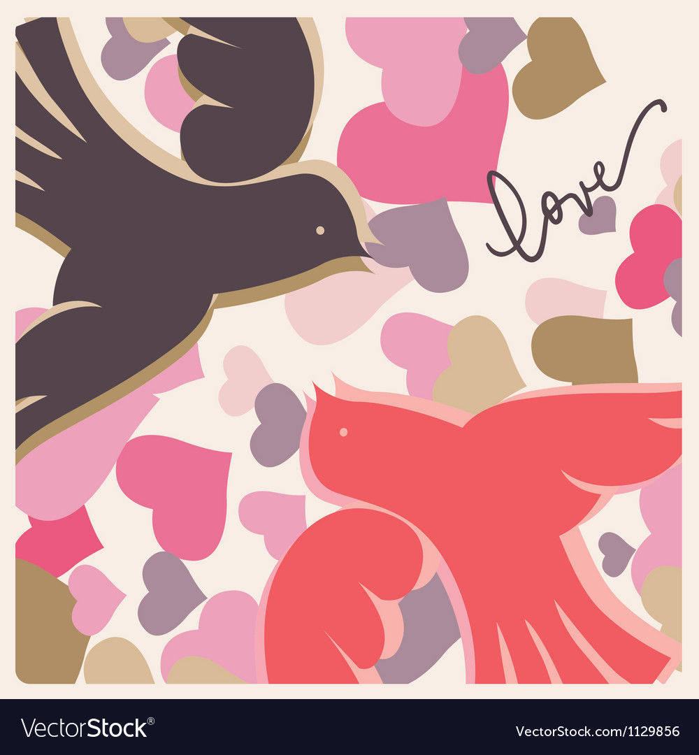 Kissing pigeons valentine poster vector image