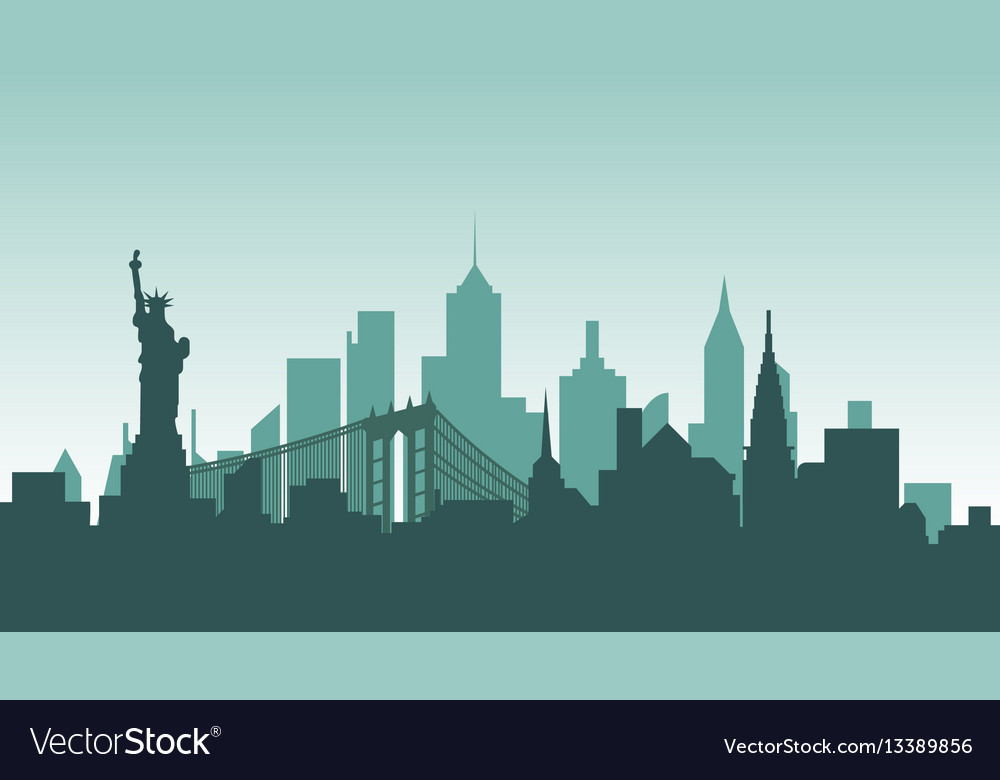 United states of america silhouette architecture vector image