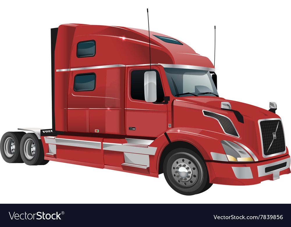 volvo truck red. volvo truck vector image red
