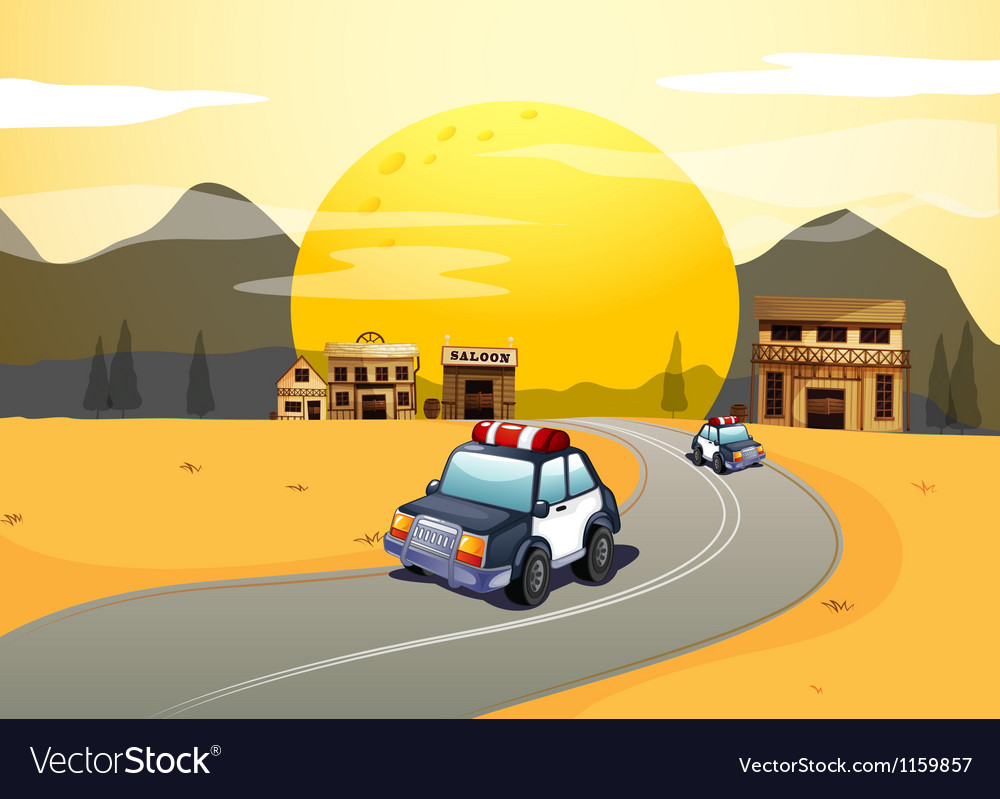 Vehicles in the road vector image