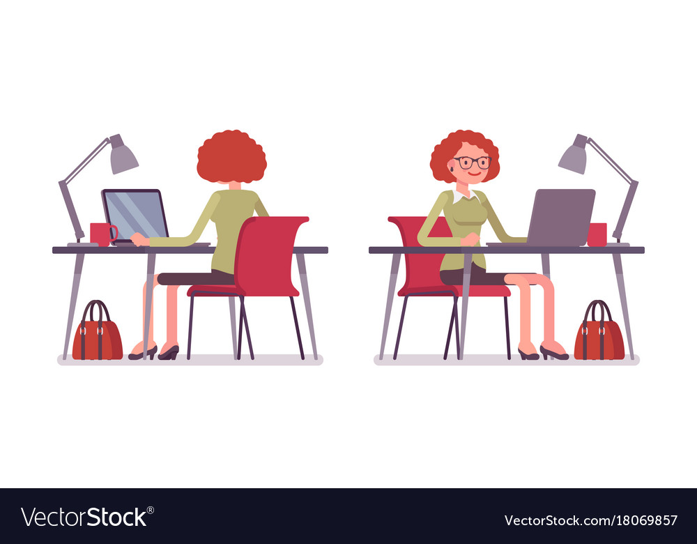 Set of young female office worker at the office vector image