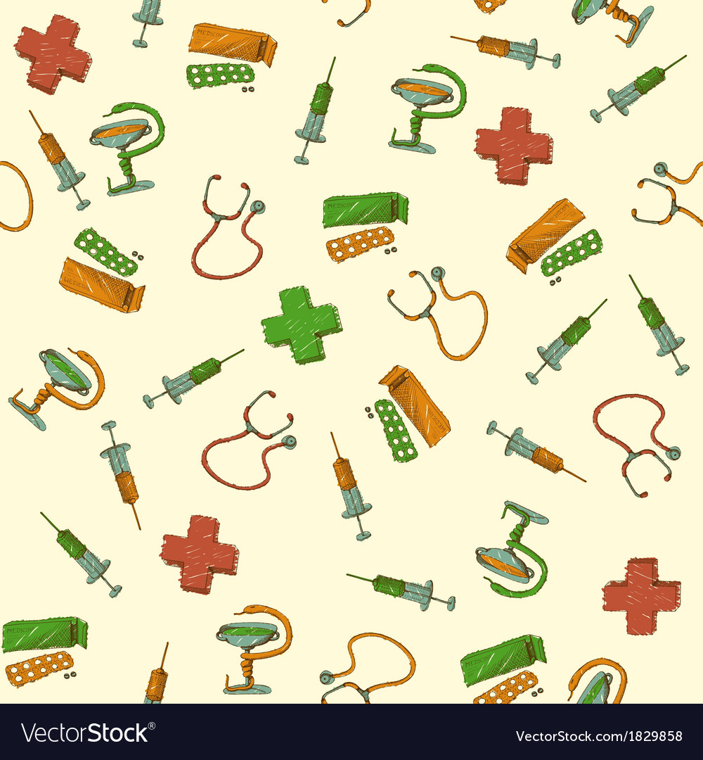 Seamless medicine and healthcare background vector image
