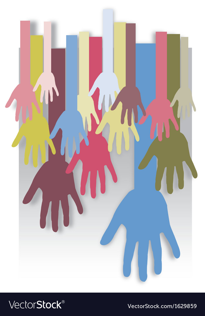 Background colorful silhouette hands design vector image