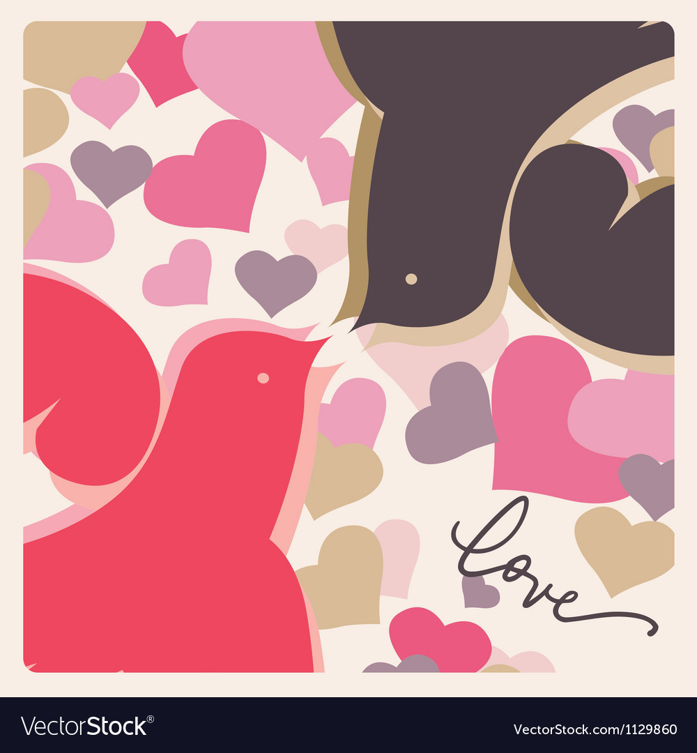 Kissing doves valentine poster vector image