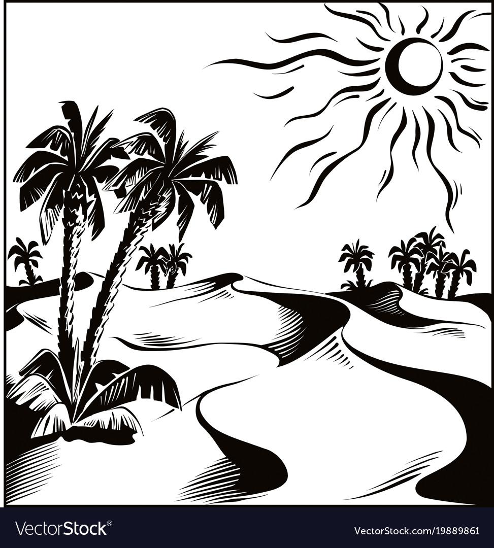 African desert oasis vector image