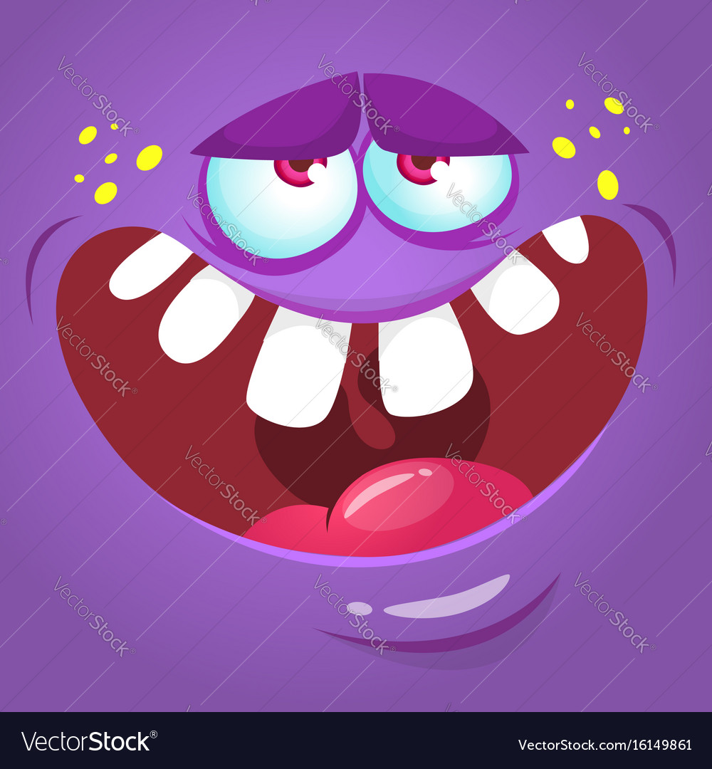 cartoon scary monster face royalty free vector image