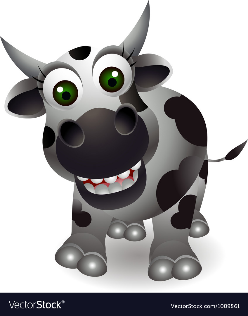 funny cow cartoon royalty free vector image vectorstock