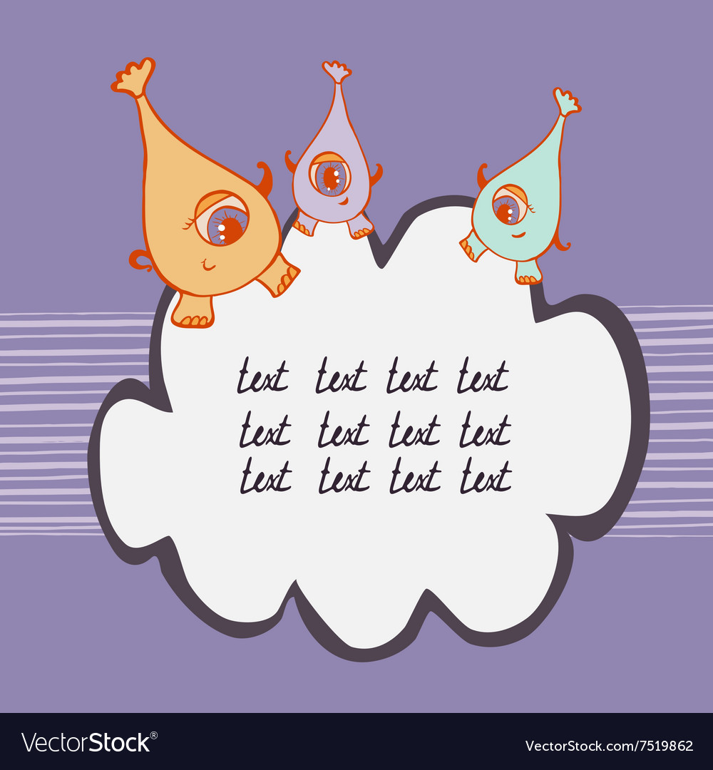 Colored monsters on cloud vector image