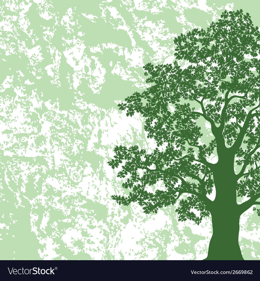 Oak tree silhouette on abstract background vector image