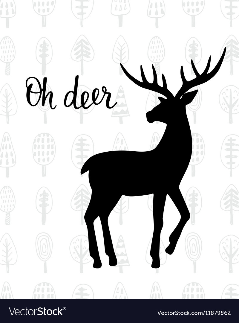 Oh dear Winter holidays hand drawn vintage deer vector image