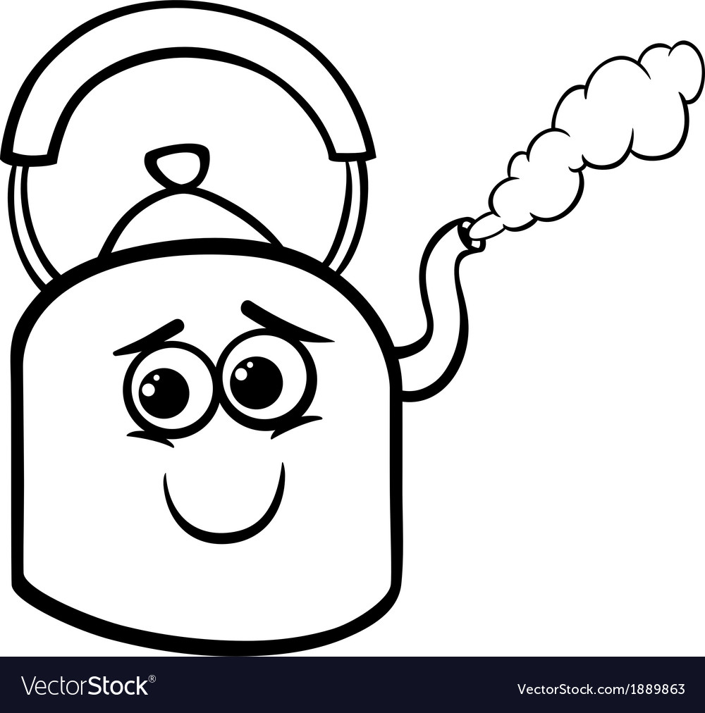 Kettle and steam coloring page Royalty Free Vector Image  VectorStock