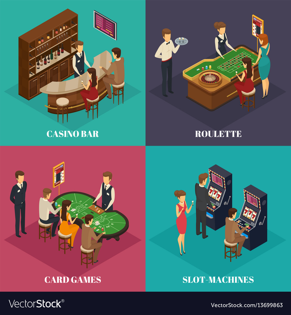 Casino isometric composition vector image