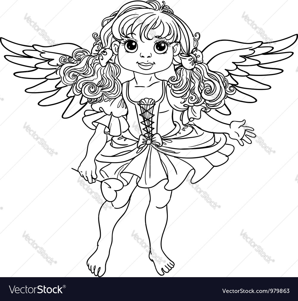 pretty angel with wings black outline vector image