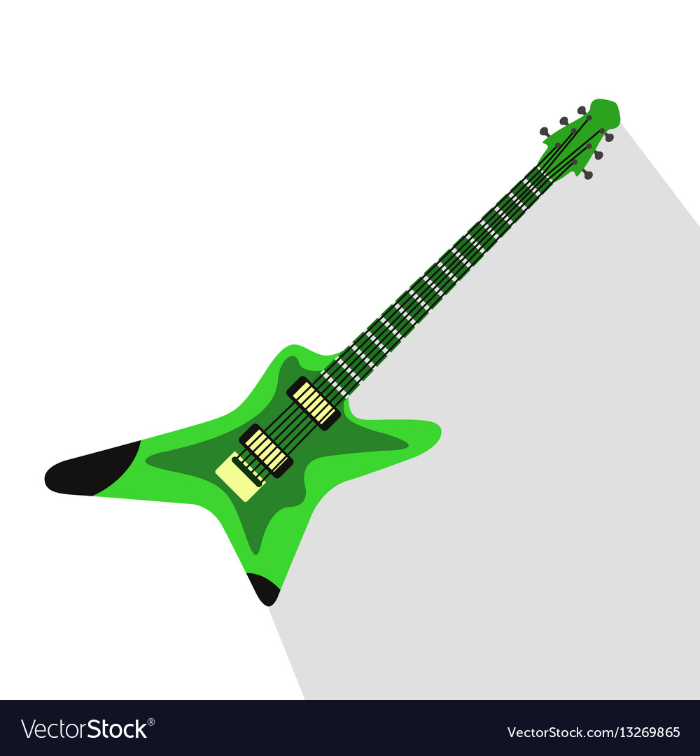 Acoustic electric guitar icons isolated vector image