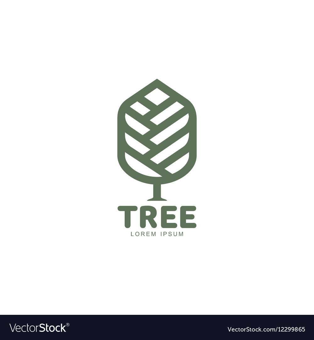 Extended graphic tree logo with stylized leaves vector image