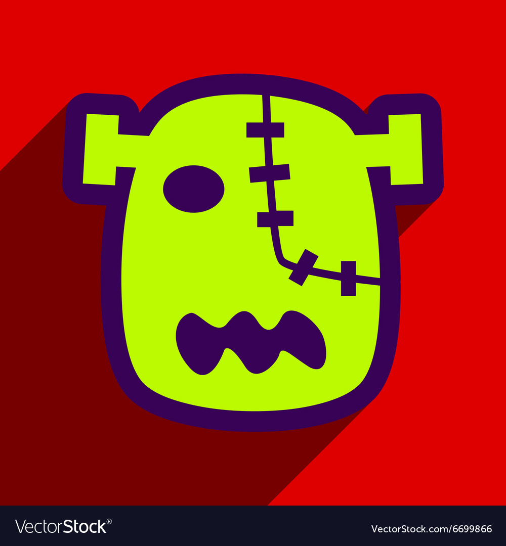 Flat with shadow Icon Zombie head on a bright